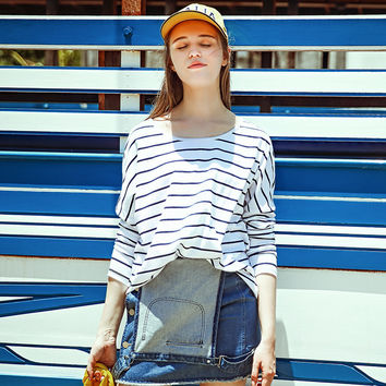Summer Cotton Permeable Round-neck Long Sleeve Stripes T-shirts [6308594052]