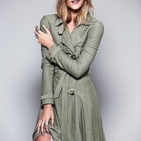 Free People Womens Ruffle Trim Trench Coat - Latte,