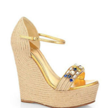 Gucci Jeweled Espadrille Wedge Sandals in Gold - Avenue K