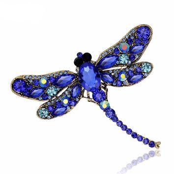 Transformation Crystal Dragonfly Brooch - Antique Style Jewelry Brooch Pins For Women Scarf