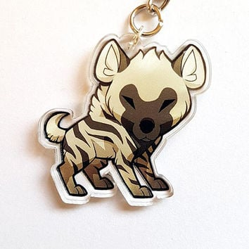 Chibi Striped Hyena Double Sided Clear Acrylic Charms with Phone Strap