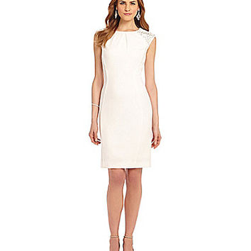 Katherine Kelly Crepe Sheath Dress - Ivory