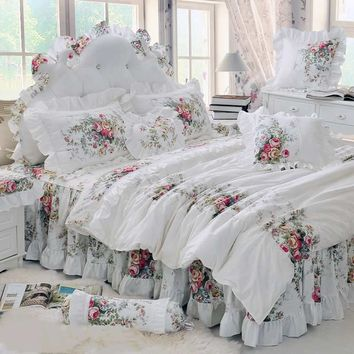 Luxury Lace Princess Bedspread Duvet Cover Set 4/6/8pcs Flower Ruffles Beige Bedding Sets Bed Skirt Bedclothes BedSheet Cotton