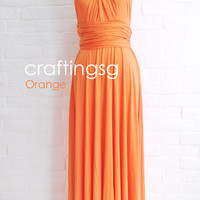 Bridesmaid Dress Infinity Dress Orange Floor Length Wrap Convertible Dress Wedding Dress