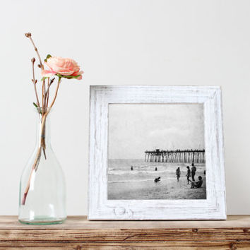 Square print, beach photo, black and white vintage fine art photograph, Kure Beach pier, summer, ocean, North Carolina, wall art home decor