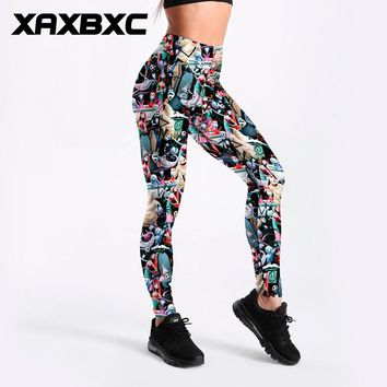 XAXBXC 3513 The Nightmare Before Christmas Skull Print Fitness Workout Push Up Women Leggings Slim Sexy Girl Hot Pants Plus Size
