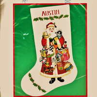 RARE & Popular Santa Full of Toys Crewel Embroidery Christmas Stocking Kit by Dimensions 1992 - Factory Sealed - Holiday Decor FREE Shipping