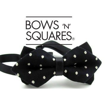 Black & White Polka Dots Pointed Bow Tie - Wedding Retro Bow Tie - Black Bow Tie - Black Tie Event - Bachelor Party