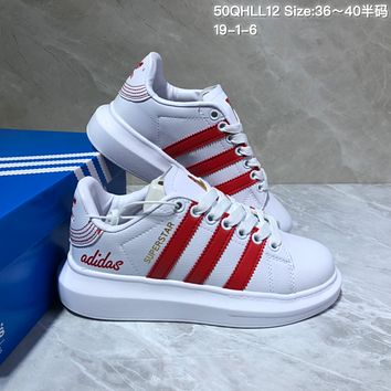 DCCK A517 Adidas Superstar Leather Casual Shoes White Red
