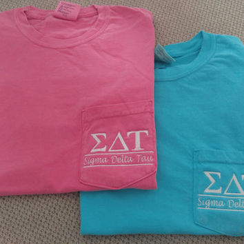 Sigma Delta Tau, Big Little Sister, Sorority Shirts, Sorority T Shirt, Greek Letter shirt, Pocket T Shirt, Monogrammed Pocket T