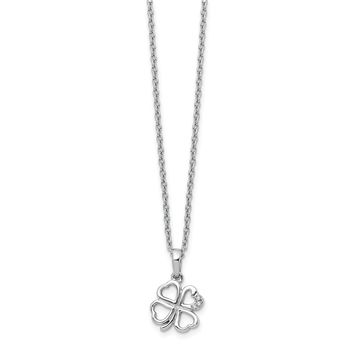 Sterling Silver White Ice Diamond Clover Pendant Necklace