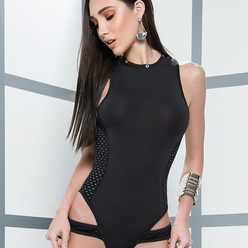 Wet Look Netting Bodysuit