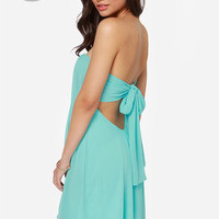 LULUS Exclusive Breathtaking The Cake Strapless Sky Blue Dress