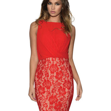 Red Ruched Sleeveless Casual Dress with Floral Lace Detail