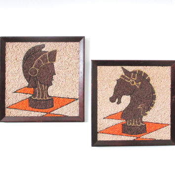 Mid Century Gravel Art, Vintage Chess Decor Wall Art