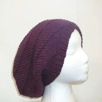 Slouchy beanie hat purple knitted  5330