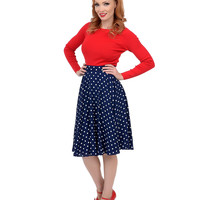 1950s Style Navy & White Polka Dot High Waisted Swing Skirt