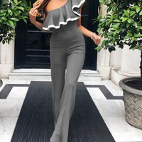 One Shoulder Jumpsuit Ruffles