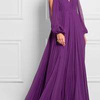 Jenny Packham - Cutout pleated silk-chiffon gown