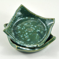 Handmade Ceramic Tableware Green Condiment Dishes - Set of Two Trinket Dish Candle Holder