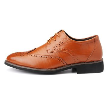 Men Brogue Carved Pointed Toe Lace Up Oxfords