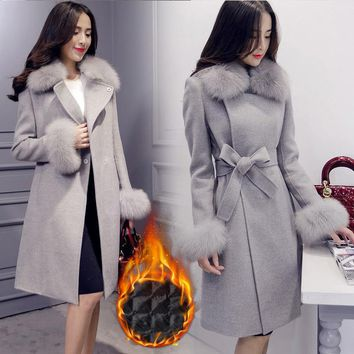 Long Wool Winter Coat Elegant Fashion Collar Detachable Fur Collar Wool Blend Coat and Jacket Solid Women Coats Autumn