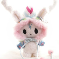 Kawaii Magic Spirit Plushie-Doll with Candy Antler Hood and accessories ( custom order example )