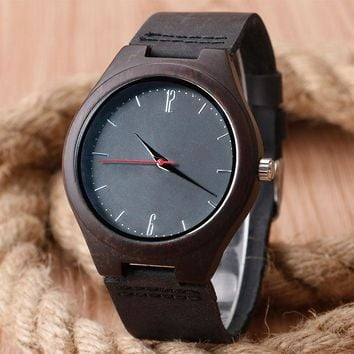 Fashion Nature Wood Wrist Watch Men Analog Sport  Leather Band Strap For  Women