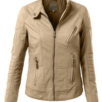 Womens Faux Leather Quilted Zip Up Moto Biker Jacket With Stitching Detail