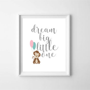 Dream Big Little One, bear prints, Nursery decor, baby wall art, childrens wall decor, kids art, Digital Download, printable wall art, baby