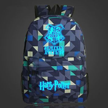 Free Shipping Harry Potter Hogwarts Anime Backpack Luminous Printing School Bags For Teenager Mochila Backpacks
