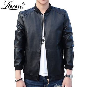 LOMAIYI Mens Leather Jacket Men Autumn Winter Slim Motorcycle Coats Male Fleece Biker Clothes Men's Leather Bomber Jackets BM266
