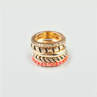 FULL TILT 5 Piece Textured Stack Ring 205740621 | Rings | Tillys.com