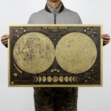 Large Vintage Poster Moon Map Poster 28X18