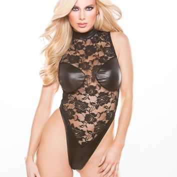 Black Wet Look Cupped and Lace Teddy