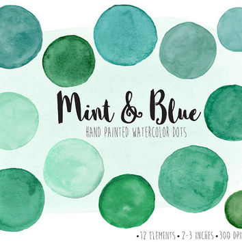 SALE. Watercolor Dots Clipart. Hand Painted Mint Watercolor Circles, Splotches Clip Art. Mint, Green, Teal Scrapbook Frames & Speech Bubbles