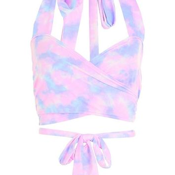 Andrea Tie Dye Wrap Over Halter Top | Boohoo