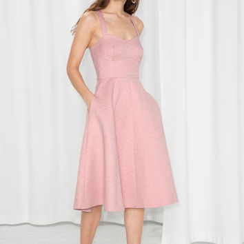 Cross Strap Tea Dress - Pink - Midi dresses - & Other Stories US
