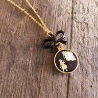 Alice in Wonderland charm necklace,Black and gold necklace,gold plated,Bow,silhouette,shabby chic,Victorian style,pendant necklace