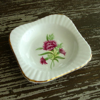 Trinket Dish, Royal Windsor Fine Bone China England, Butter Pat Dish, Spoon Rest Tiny Plate, Gold Rimmed Pink Flower, Tea Party, Ring Holder