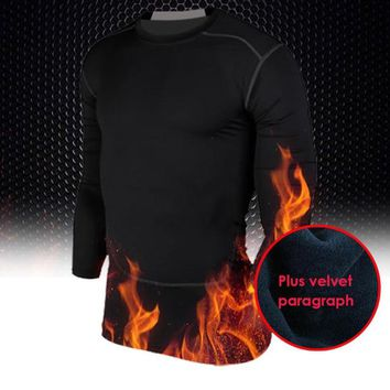 Winter Running Gym Fitness Thermal Sport Shirt Tops M-XXL Mens Compression Base Layer Workout T-shirts High Quality