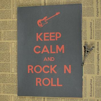 Vintage Poster Keep calm and rock n roll Kraft retro rock poster Bar Cafe retro poster 30x21cm