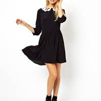 ASOS Skater Dress With Crochet Collar