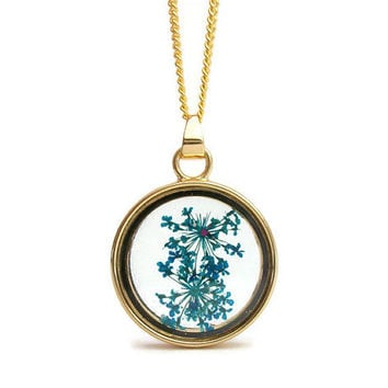 Blue Dried Flowers Floating Locket Gold Tone Pendant Necklace- 18 or 20 in Petite Curb Chain or 23 inch Ball Chain