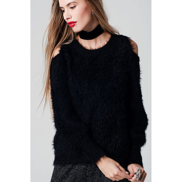 Jersey super soft fluffy black sweater detailed with Open-shoulder