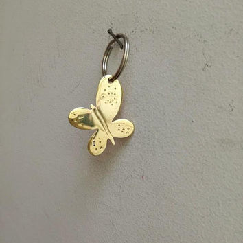 Brass buttefly key ring, brass butterfly keychain, golden butterflly charm, golden butterflys on alloy ring, butterfly accessories