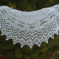 Knitted lace shawl blue wrap