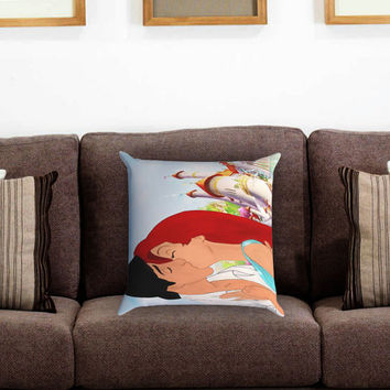 The Little Mermaid Ariel Eric Kissing Pillow Cover , Custom Zippered Pillow Case One Side Two Sides