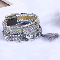 Bohemian Leather Bracelet Magnetic Charm Crystal Vintage Rhinestone Tassel Bracelet Bangle For Women