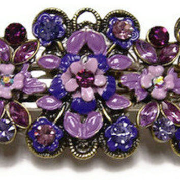 Purple BARRETTE, Large flower beads, made to order